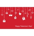 Card for Valentines Day with hanging hearts gifts vector image vector image