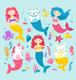 cat unicorn mermaid graphic happy magic mermaids vector image