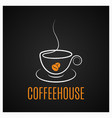coffee cup vintage logo on dark background vector image vector image
