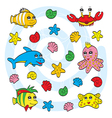 Cute sea animals vector image