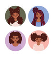 different african american women trendy flat style vector image vector image