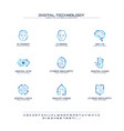 digital technology creative symbols set font vector image