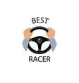 driving car sign best racer banner diver design vector image