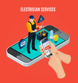 electricity isometric red composition vector image vector image