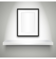 Empty shelf on wall and blank frame vector image vector image