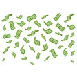 falling banknotes wealth money denominations rain vector image