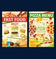 fast food snacks and meals menu vector image vector image