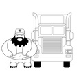 Fat truck driver and cargo car Line-art vector image vector image