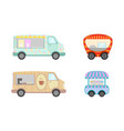 food truck collection with ice cream and coffee vector image