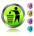 Glossy recycling sign button vector image