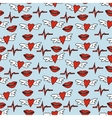 Hand drawn seamless pattern hearts with wings vector image
