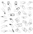 hand gestures collection hands holding key phone vector image