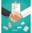 handshake between doctor and patient vector image vector image