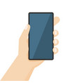 human hand holding smartphone vector image vector image