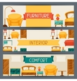 Interior horizontal banners with furniture in vector image