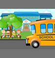 kids waiting for school bus vector image vector image