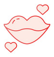 lips flat icon kiss with heart pink icons in vector image vector image