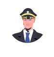 man pilot in uniform male captain avatar aviation vector image vector image