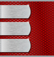 metal plates on red perforated background vector image vector image
