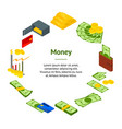 money banner card circle isometric view vector image vector image