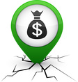 Money green icon in crack vector image vector image