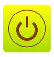 on off switch sign brown icon at green vector image