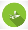 paper plane with dollar icon vector image vector image