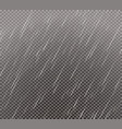 rain effect on transparent grid background vector image vector image