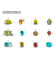 set camping and outdoor activity icons vector image vector image