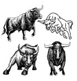 set of bull doodle hand drawn vector image vector image