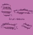 Set of doodle ornate fruit ribbons vector image vector image