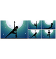 silhouette woman doing yoga on fullmoon night vector image vector image