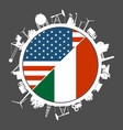 usa and italy industry concept vector image vector image