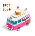 Van with ice cream vector image vector image