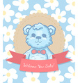 Welcome Baby Card with Teddy Bear vector image vector image
