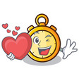 with heart chronometer character cartoon style vector image vector image