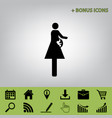 women and baby sign black icon at gray vector image vector image