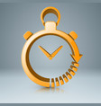 yellow clock icon with white reflect vector image vector image