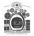vintage artificial intelligence label template vector image