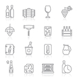 Line Wine industry objects icons vector image