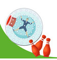 a man rolling down the mountain in zorbing sphere vector image vector image