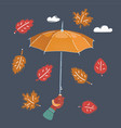 arm hand holds umbrella on a dark vector image vector image
