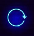 arrow circle neon sign vector image vector image