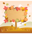 autumn wood signage vector image vector image