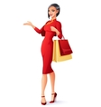 Beautiful Chinese Asian lady with shopping bags vector image vector image