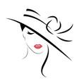 beautiful stylish in hat logo vector image vector image