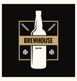 Beer bottle label brew vintage logo on black