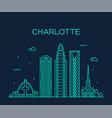 charlotte city skyline north carolina usa vector image