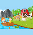 children rowing boat in the farmyard vector image vector image