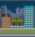 cityscape night scene icons vector image